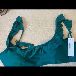 J crew jade green ruffle bikini top, NWT , medium